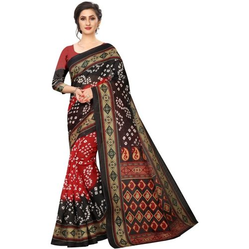 Tripot Designer Printed, Embellished Bandhani Art Silk Saree(Multicolor)