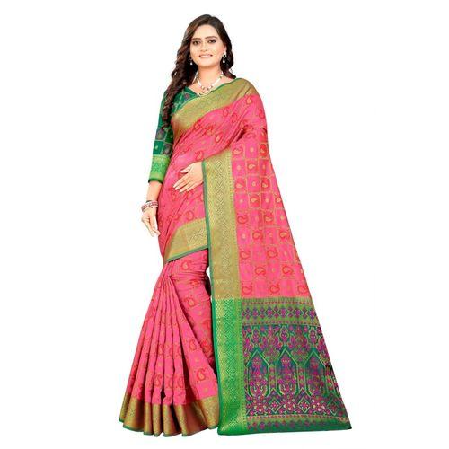 SHOBHA SAREE Woven Bandhani Pure Silk, Art Silk, Poly Silk, Silk Blend Saree(Pink)