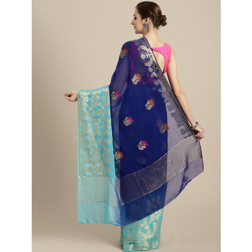 Geroo Jaipur Blue Pure Georgette Zari Woven Design Banarasi Saree