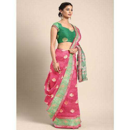 Saree Swarg Pink & Gold-Toned Silk Cotton Woven Design Banarasi Saree