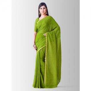MIMOSA Green Poly Chiffon Embroidered Banarasi Saree