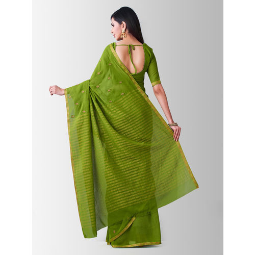 MIMOSA Green Poly Chiffon Embroidered Banarasi Saree