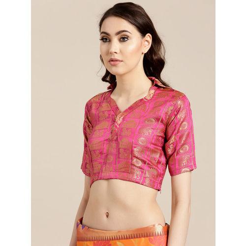 Chhabra 555 Orange & Blue Woven Design Handloom Banarasi Saree