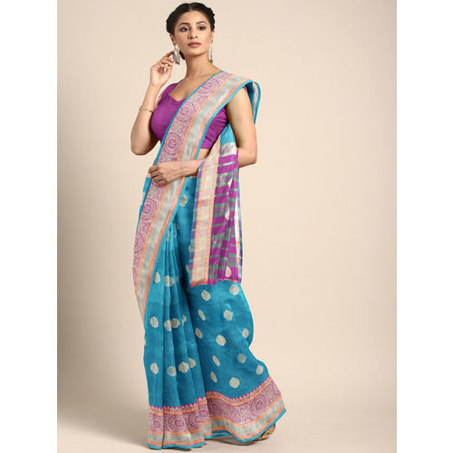 Saree Swarg Turquoise Blue & Gold-Toned Silk Cotton Woven Design Banarasi Saree