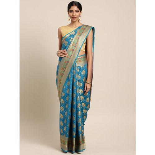 Saree Swarg Turquoise Blue & Gold-Toned Silk Blend Woven Design Banarasi Saree