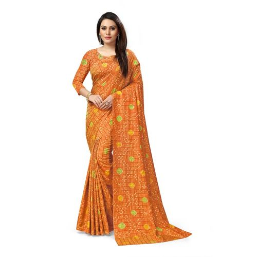 Varni Printed, Checkered, Self Design Bandhani Art Silk Saree(Mustard)