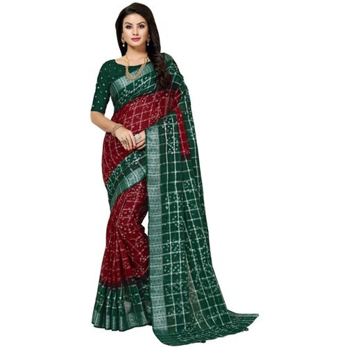Wedding Villa Woven Bandhani Cotton Blend Saree(Multicolor)