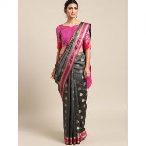 Saree mall Charcoal Grey & Pink Silk Blend Woven Design Banarasi Saree & Matching Blouse
