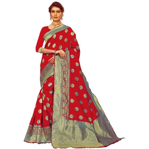 Ethnic Corner Woven Banarasi Tussar Silk Saree(Red)