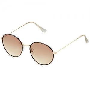 Joe Black Round Sunglasses (Golden and Brown) (JB-733-C7 LT)