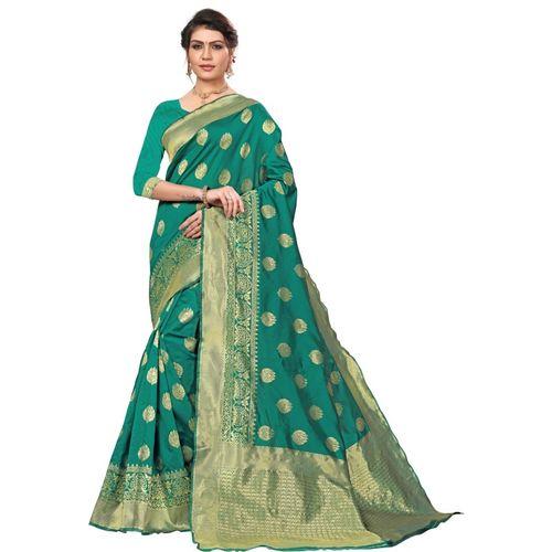 Ethnic Corner Woven Banarasi Tussar Silk Saree(Green)