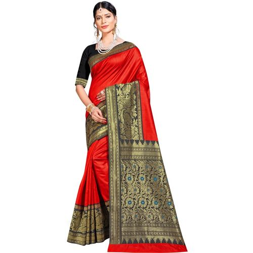 Maroosh Woven Banarasi Silk Blend Saree(Red)