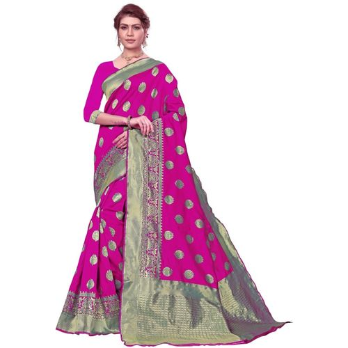 Ethnic Corner Woven Banarasi Tussar Silk Saree(Pink)
