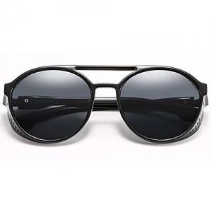 U.S. CROWN SteamPunk Matt Unisex Round Side Mesh Style Vintage Punk Sunglasses for Men and Women with Case