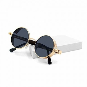 U.S. CROWN Steampunk Round Metal unisex UV Protected sunglasses for Men and Women with case