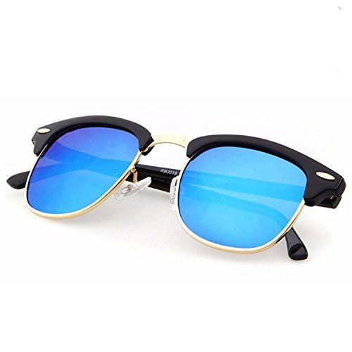 Singco Blue Lens Stylish Clubmaster Unisex Sunglasses (Blue)