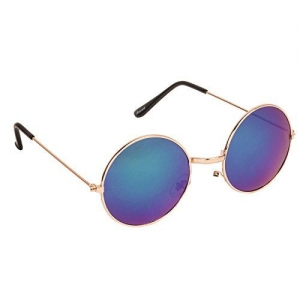 Arzonai Hammond Round Shape Golden-Green Mirrored UV Protection Sunglasses For Men & Women [MA-040-S5 ]