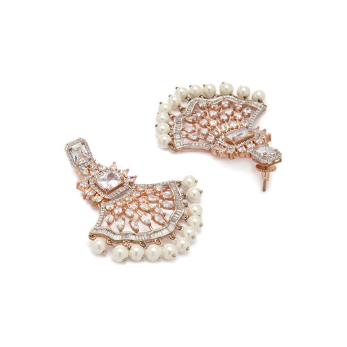 Rubans Gold Toned CZ Studded Embellished Chandbali Earrings Alloy Drops & Danglers
