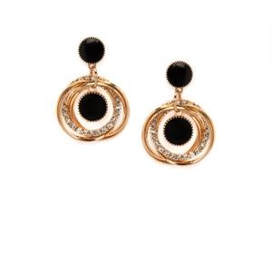 Rubans Gold-Toned & Black Oval Drop Earrings