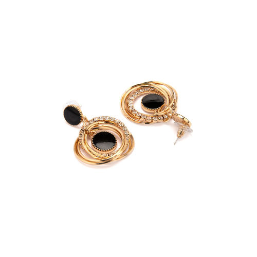 Rubans Gold-Toned & Black Oval Drop Earrings