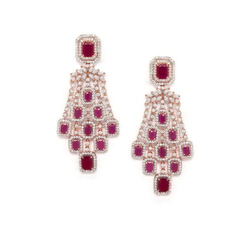 Rubans Rose Gold & Red Classic Drop Earrings