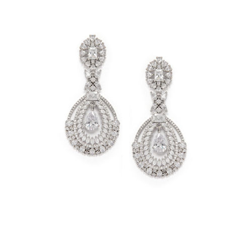 Rubans Silver-Toned & White Handcrafted Oval Drop Earrings