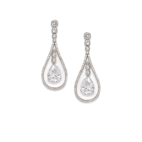 Rubans Silver-Toned & White Handcrafted Teardrop Shaped Drop Earrings
