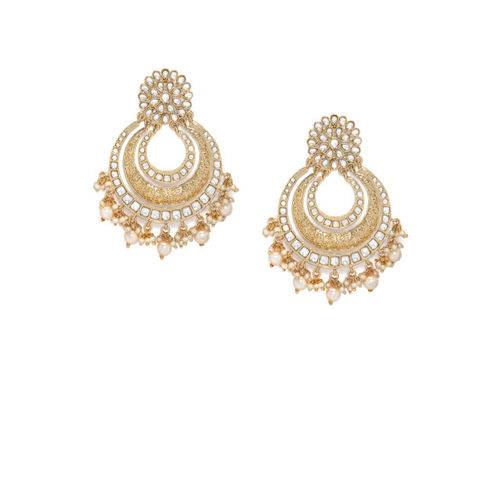 Rubans Kundan Studded Pearl Embellished Chandbali Earrings Pearl Alloy Chandbali Earring