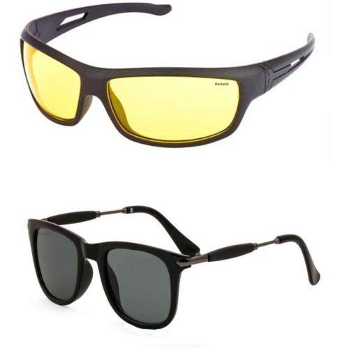 Barbarik Wayfarer, Shield Sunglasses(Black, Yellow)