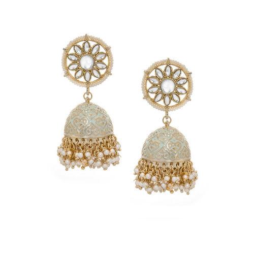 Rubans Gold Toned Hand Painted Jhumka Earrings Pearl Alloy Jhumki Earring