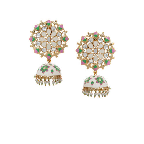Rubans Gold Toned Pastel Green Hand Crafted Kundan Embellished Jhumka Earrings Alloy Jhumki Earring