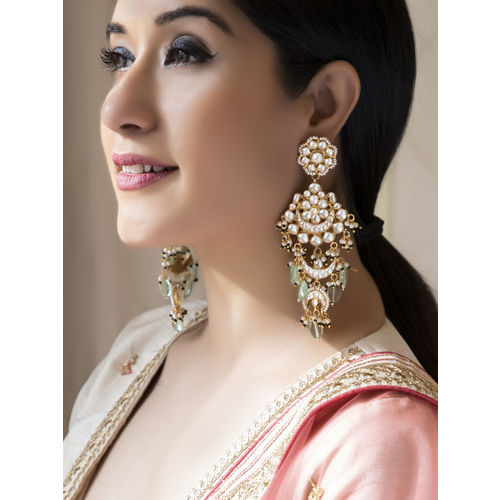 Rubans Gold Toned Hand Crafted Color Stoned Kundan Embellished Statement Chandbali Earrings Alloy Chandbali Earring