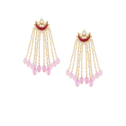 Rubans Gold Toned Hand Crafted Pink Pearl Chandbali Earrings Alloy Chandbali Earring