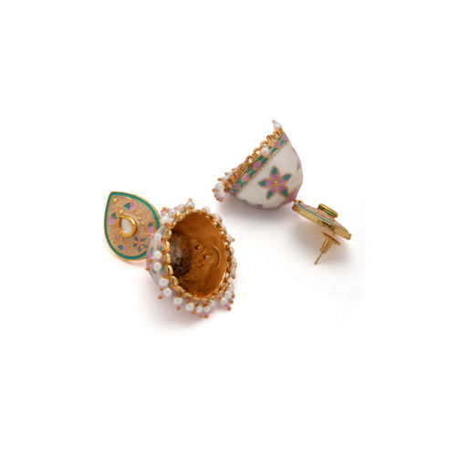 Rubans Gold Toned Pastel Pink Hand Crafted Pearl Embellished Jhumka Earrings Alloy Jhumki Earring