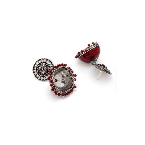 Rubans Women Silver-Toned & Red Classic Jhumkas