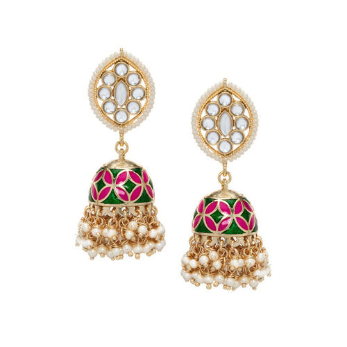 Rubans Gold-Toned Dome Shaped Jhumkas