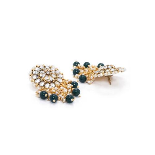 Rubans Gold-Toned & Green Classic Drop Earrings