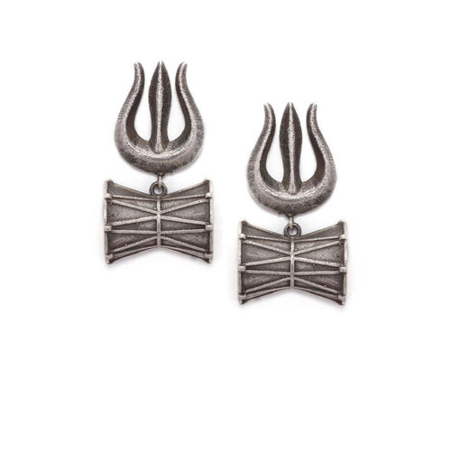 Rubans Antique Oxidised Silver Plated Handcrafted Contemporary Trishool Drop Earrings Metal Drops & Danglers