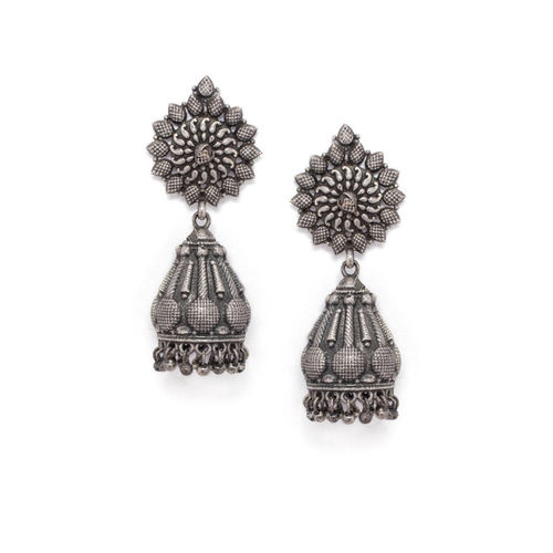 Rubans Silver-Plated Handcrafted Dome Shaped Jhumkas