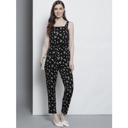 DOROTHY PERKINS Women Black & Off-White Floral Print Basic Jumpsuit