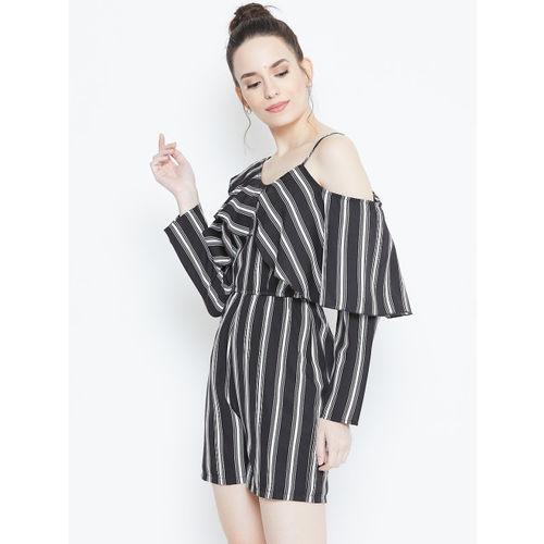 DODO & MOA Women Black & White Striped Playsuit