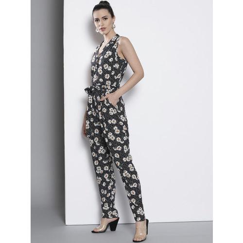 DOROTHY PERKINS Women Black & White Floral Print Basic Jumpsuit