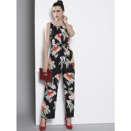 DOROTHY PERKINS Women Black & Green Floral Print Basic Jumpsuit