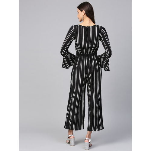 Zima Leto Black & White Striped Basic Jumpsuit