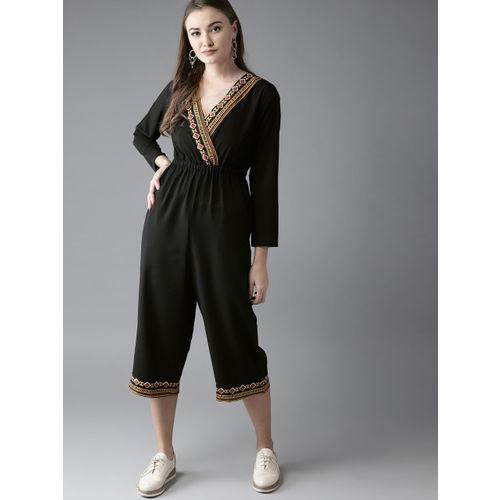 Moda Rapido Black Solid Culotte Jumpsuit