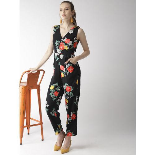 QUIERO Black & Red Floral Printed Basic Jumpsuit