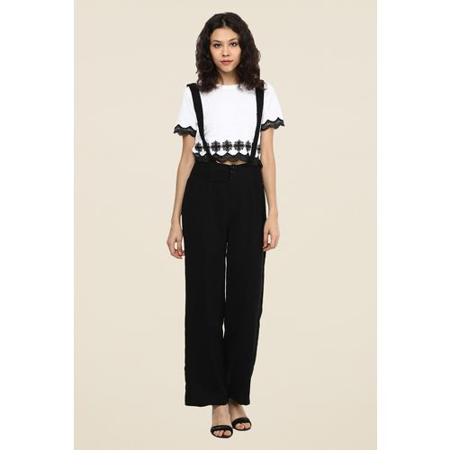 109 F Black Solid Dungaree