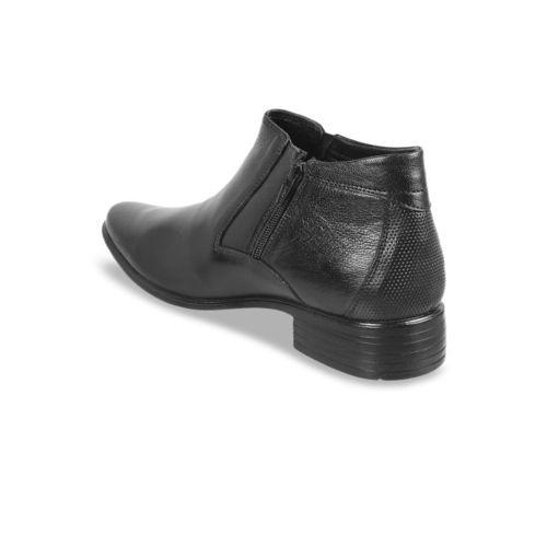 Mochi Men Black Leather Formal Slip-Ons