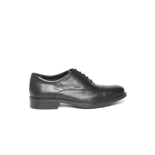 Geox Men Black Leather Formal Oxfords