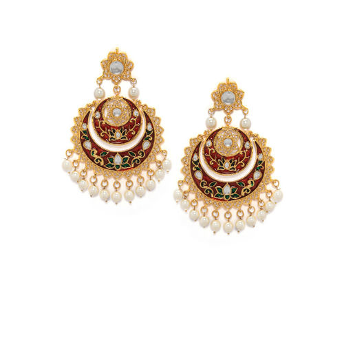 Rubans Women Gold-Plated & Red Contemporary Handcrafted Chandbalis